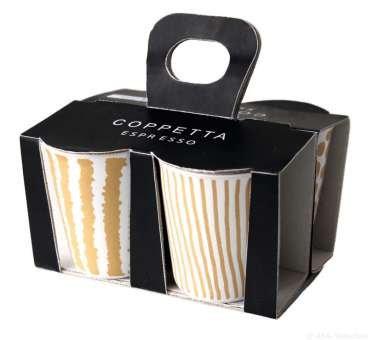 ASA 44200425 Coppetta 4er Set Espressobecher Keramik gelbgold - weiß 65 x 65 x 7 cm