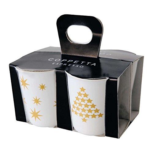 ASA 44300425 Coppetta 4er Set Espressobecher Keramik gelbgold - weiß 65 x 65 x 7 cm