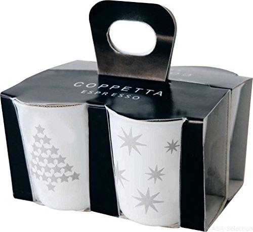 ASA 44300427 Coppetta 4er Set Espressobecher Keramik Silber - weiß 65 x 65 x 7 cm