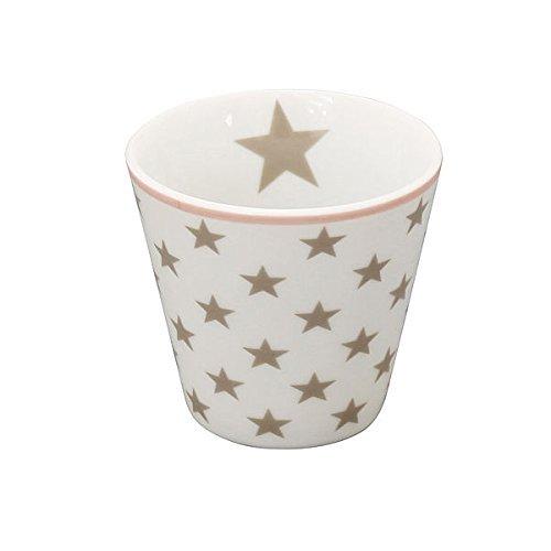 Espressotasse Stars Tasse Becher klein Espressobecher ohne Henkel Moccatassen Sterne Keramik Pastell Vintage Retro Espresso Kaffeetasse Taupe I