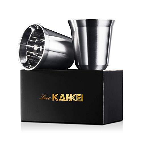 Espressotassen Mokkatassen Love-KANKEI Doppelwandige Kaffeetassen Espressobecher aus Edelstahl 150mlPcs isoliert spülmaschinefest MEHRWEG