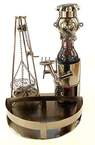 Extravaganter Bier Flaschenhalter Schwenker mit Tablett aus Metall Höhe 24 cm