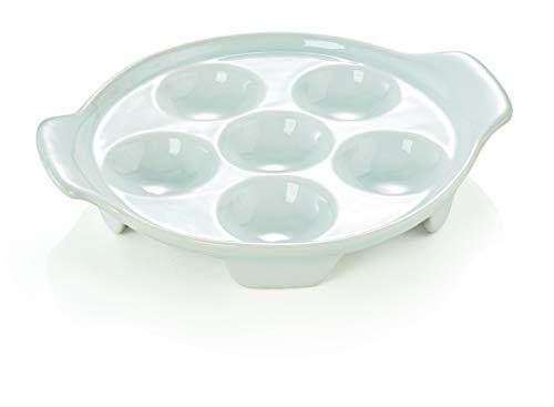 2 Stück Porzellan - Schneckenpfanne 6er mit Seitengriffen Schnecken Pfanne
