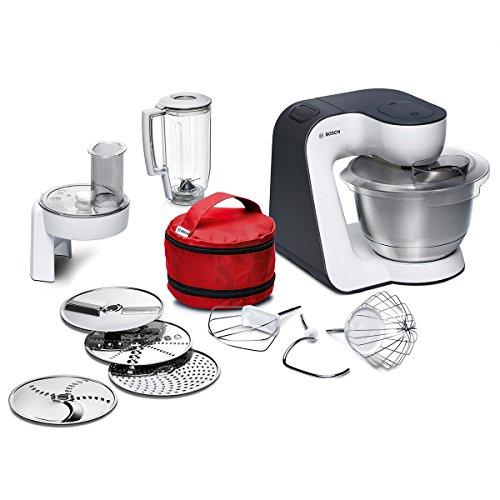 Bosch MUM50E32DE Küchenmaschine StartLine 800 W 39 L Edelstahl-Rührschüssel umfangreiches Zubehör weiß  anthrazit