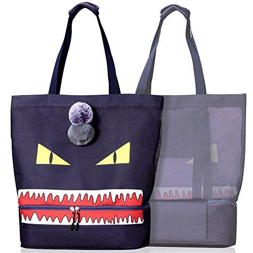 CoolMoMo Strandtasche XXL groß Strandtasche Damen Kühltasche 2-in-1 Strandtasche mit Kühlfach Isoliert Beach Bag Badetasche Strandtasche Familie