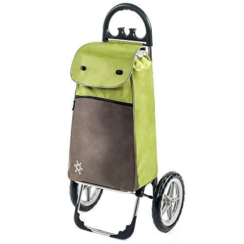 Moderner Einkaufstrolley Esana in grün mit 55L extra Kühlfach - großer Shoppingwagen Shoppingtrolley bis 30kg belastbar