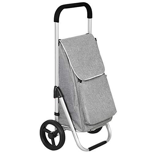 SONGMICS Faltbarer Einkaufstrolley mit Rollen Leichter Einkaufswagen mit isoliertem Kühlfach 40 L Grau KST04GY