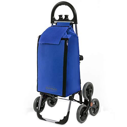 Treppensteiger Einkaufstrolley Seena in blau mit 50L Kühlfach - Einkaufsroller Trolley bis 30kg belastbar - Gewicht nur 25kg
