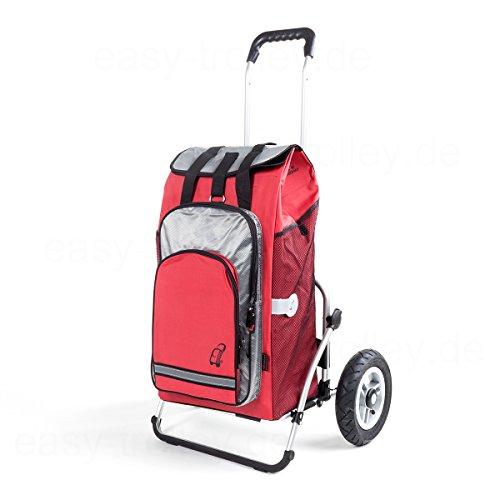 XXL Royal Einkaufstrolley  große Lufträder  abnehmbare Einkaufstasche Hydro als Rucksack verwendbar Kühlfach  rot