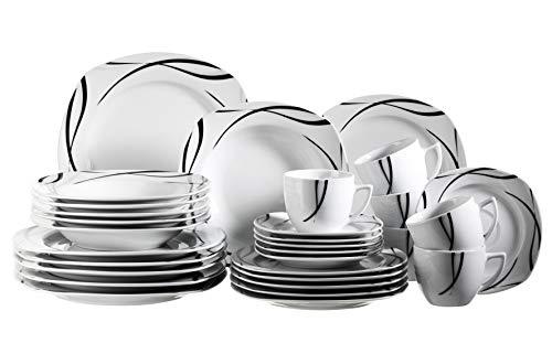 Mäser 920463 Serie Oslo 30-teiliges Kombiservice für 6 Personen Geschirr-Set klassisch zeitlos elegant Porzellan schwarz-weiß
