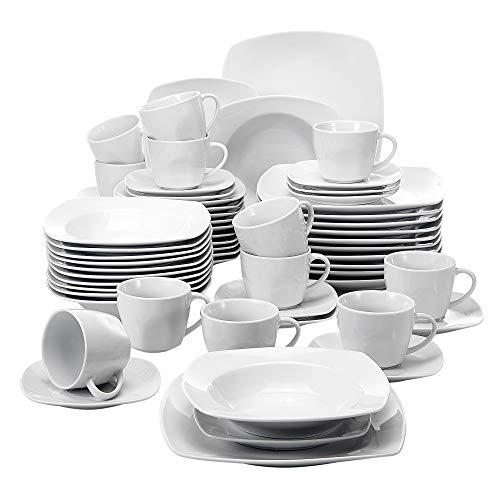 MALACASA Serie Julia KLEIN Tafelservice 60-TLG Kombiservice Kaffeeservice Porzellan Geschirrset mit Kaffeetassen Untertassen Dessertteller Suppenteller Speiseteller für 12 Personen je 12 Stück