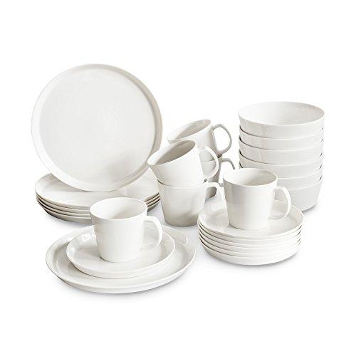 Porzellan Geschirrset Svea  Hochwertiges rundes Geschirr-Set in weiß für 6 Personen aus Fine Bone Porzellan modernes skandinavisches Design für stilbewusste Genießer