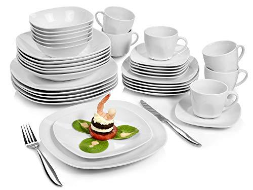 Sänger Geschirrservice Bilgola aus Porzellan 36 teilig  Geschirrset beinhaltet Speise- Suppen- Dessertteller Tassen 175 ml passende Untersetzer sowie Schalen  Komplettservice für 6 Personen