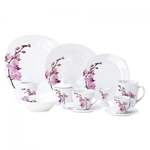 Van Well Kombiservice Kyoto 124-tlg für 12 Personen Tafel-Geschirr  Kaffee-Service  Zubehör Porzellan-Geschirr Blumen-Dekor Orchidee rosa-pink
