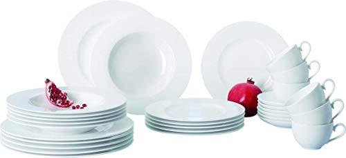 Villeroy Boch Royal Basic Hochwertiges Porzellangeschirr für die Basisausstattunggeeignet für bis zu 6 Personen  1 x Set 30-teilig Geschirrset Porzellan weiß 59 x 39 x 32 cm Einheiten