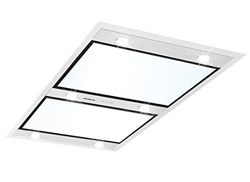 Silverline Vega VGD 1541 W Abluft Deckenhaube mit Randabsaugung EdelstahlWeißglas 150 cm