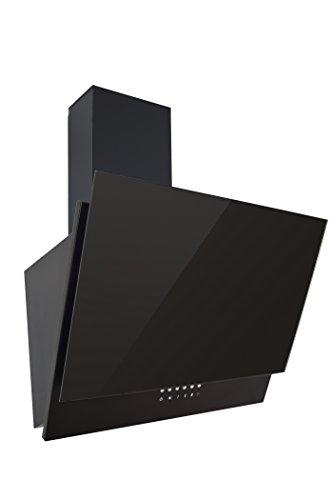 Respekta kopffreie Schräghaube Dunstabzugshaube Abzugshaube Wandhaube Glas 60 cm schwarz  3 Leistungstufen  Abluft und Umluft  LED