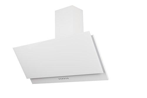 Respekta kopffreie Schräghaube Dunstabzugshaube Abzugshaube Wandhaube Glas 90 cm weiss  3 Leistungstufen  Abluft und Umluft  LED