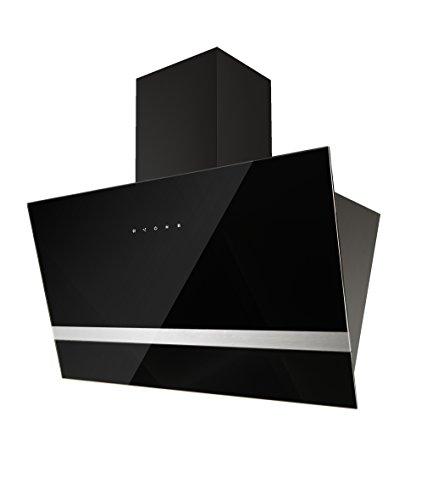 respekta Design Schräghaube Dunstabzugshaube kopffrei Glas 90 cm schwarz EEKL A Touch Control  LED Beleuchtung  3 Leistungsstufen  Abluft und Umluft