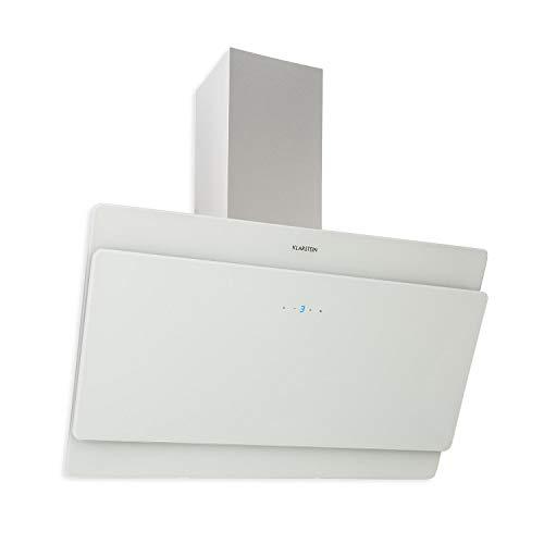 Klarstein Aurica 90 Dunstabzugshaube • Wandhaube • kopffrei • 90 cm breit • 610 m³h Leistung • Touch-Steuerung • Glas • Umrüstung auf Umluft möglich • weiß