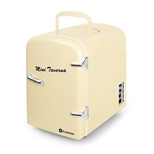 Klarstein Mini Taverna • Mini-Kühlschrank • Kühl- und Warmhaltebox • 4 Liter • 42 Watt • 12 Volt Kabel • 50er Jahre Design • Tragegriff • herausnehmbarer Einschub • sicherer Türverschluss • creme
