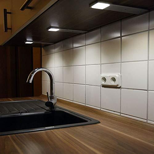 ACCE LED Unterbauleuchte Küchen Möbel Leuchte Neutralweiß inkl Konverter ein Strahler mit Schalter Energieeffizienzklasse A 3er Set