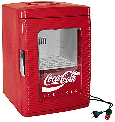 EZetil Coca-Cola Mini Kühlschrank 25 mit transparenter Tür 12230V - 23L mit Kühl- und Warmhaltefunktion für Getränke und Speisen Energieeffizienzklasse A rot