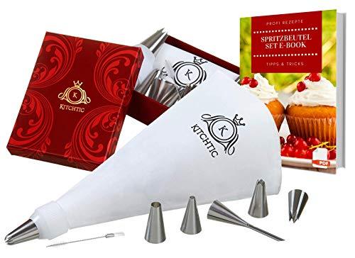 Kitchtic Premium Spritzbeutel-Set 10-teilig inklusive E-Book Geschenks Box Adapter Baumwolle Spritzbeutel 6 Edelstahl Spritztüllen Reinigungsbürste – Tortendekoration Backzubehör Sahnebeutel