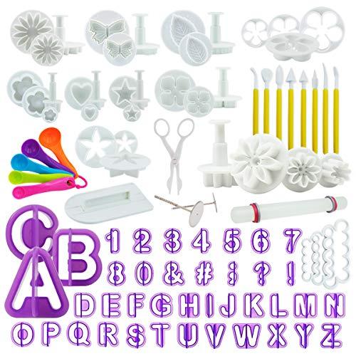 intrend 94-teiliges Fondant Ausstecher Set Ausstechformen für Buchstaben Zahlen Motive für Torten-Deko Premium Backzubehör Modellierwerkzeug für Kuchen Torten Cupcakes