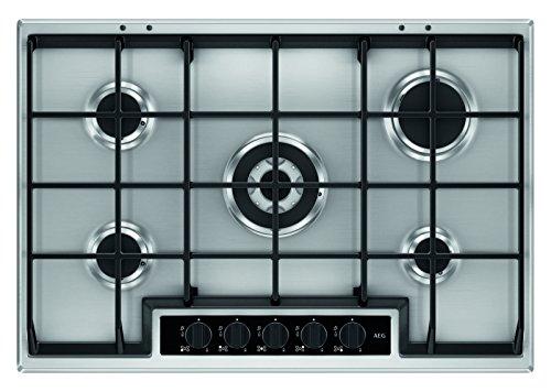 AEG HG755450SY Einbaukochfeld  autarkes Gaskochfeld mit 5 Kochstellen inkl Wok-Kochstelle  Edelstahl-Design mit abnehmbaren Topfträgern  silberfarben schwarz