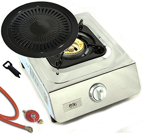 Hochwertiger Edelstahl Gaskocher 1 flammig Gasherd Campingkocher WOK Kocher  Grillplatte und Gasschlauch mit Druckminderer