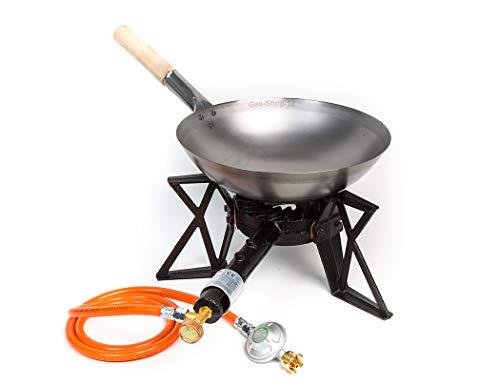 Wokbrenner SetGaskocher 75KW mit Gasschlauch  Druckminderer  33 cm Stahl Asia-Wokpfanne mit Holzgriff Gusseisen Hockerkocher Asia Kocher Gastrokocher Gasherd Campingkocher für Wok
