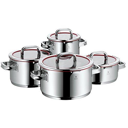 WMF Function 4 Kochtopfset 4-teilig mit Glasdeckel Cromargan Edelstahl poliert mit 4 Abgießfunktionen Innenskalierung induktionsgeeignet spülmaschinengeeignet rot