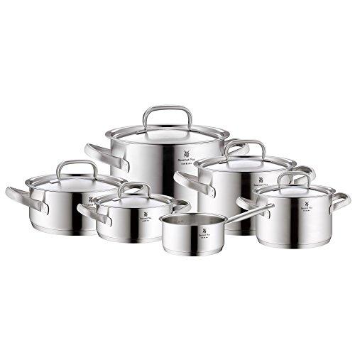 WMF Gourmet Plus Topfset 6-teilig mit Metalldeckel Kochtopf Stielkasserolle Cromargan Edelstahl mattiert Innenskalierung Dampföffnung induktionsgeeignet spülmaschinengeeignet