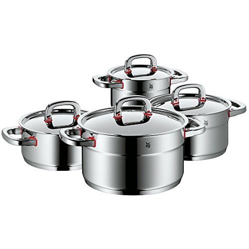 WMF Premium One Topfset 4-teilig mit Metalldeckel Kochtopf Cromargan Edelstahl poliert Cool Technology Innenskalierung Dampföffnung induktionsgeeignet spülmaschinengeeignet