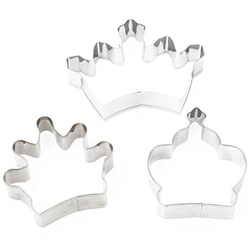 Lalang 3PCS Edelstahl Krone-Form Obstschneider DIY Cookies Fondant Puzzle Form Ausstechformen Deko Kuchen verziert Fondant Schneider Werkzeug
