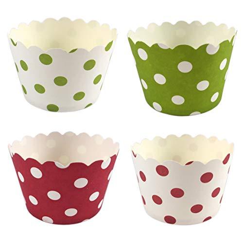 100 Pappförmchen für Muffin Cupcake EIS Dessert – 4 Designs a 25 Stück mit Punkten