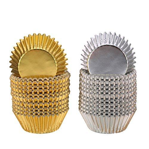Folie Metallic Cupcake Fall Liner Muffin Papier Backen Tassen Gold und Silber
