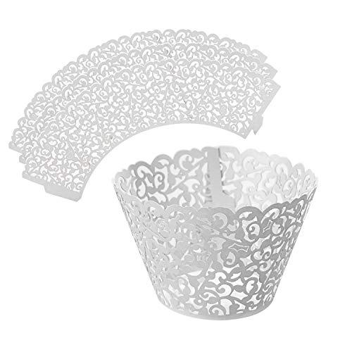 LEADSTAR 50 Stück Cupcake Wrappers Kuchen Muffin Pappbecher Förmchen Lasergeschnitten Baken Cup für Hochzeit Geburtstag Party