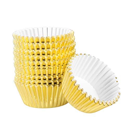 OUNONA 200pcs Muffinförmchen Aluminium-Folien Cupcake FormIdeal für Muffins und Cupcakesgoldenes