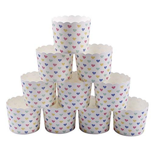webake 25 Stück- Set Muffin Papierförmchen in Herzform für Muffin Cupcake