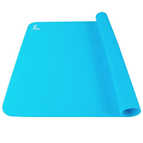SUPER KITCHEN Antihafte Rutschfeste BackunterlageBackmatte Silikon Groß 60x40cm Ausrollmatte Teigmatte Silikonmatte Backfolie Arbeitsmatte für Fondant Gebäck Pizza Matte BPA Frei (Blau)
