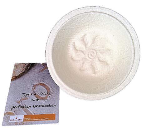 Gärkorb Gärkörbchen Holzschliff rund für 10 kg Brote mit Bodenmuster Sonnenblume inkl Info perfekt Brot backen