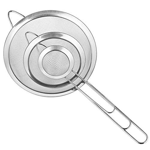 Neue Version Cymax feinmaschig Küchensieb Edelstahlnetz Set 71218cm mit Rand und Bequemen rutschfesten Griffen geschaffenPerfekt geeignet zum Sieben von Mehl oder Abtropfen von Obs