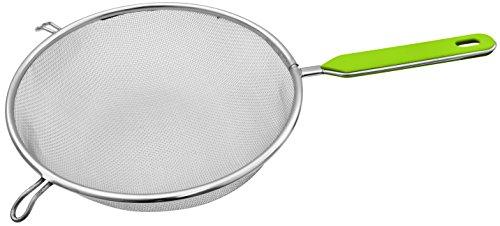 FACKELMANN Sieb Ø 25 cm Küchensieb aus Edelstahl feinmaschiger Seiher mit Griffeinlage aus Kunststoff Farbe GrünSilber Menge 1 Stück