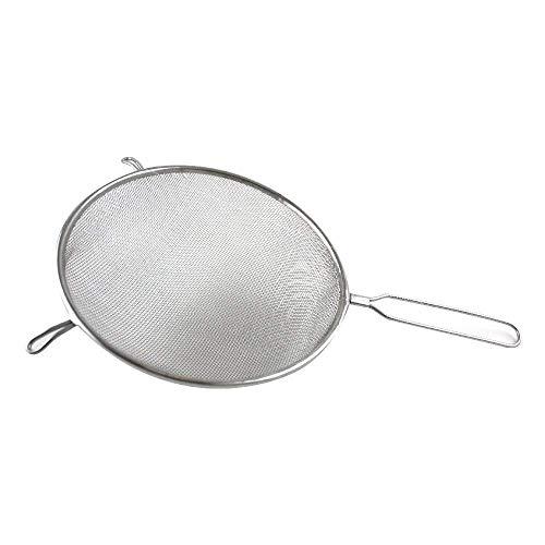 Fackelmann Sieb Ø 20 cm Küchensieb aus Edelstahl feinmaschiger Seiher mit Griffeinlage aus Kunststoff Farbe WeißSilber Menge 1 Stück