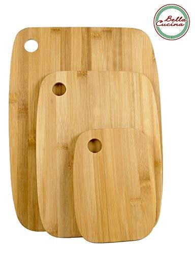Bella Cucina© Premium Schneidebrett Set  Bambus-Holz Küchenbrett  Schnittfest