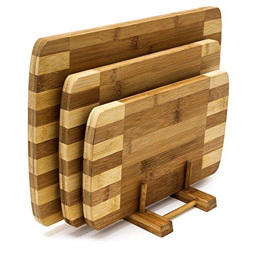 Relaxdays Schneidebretter Set 3 Größen mit Halter Küchenbretter aus Bambus gestreift Brettchen fürs Frühstück in modernem Design im praktischen Brettchenständer pflegeleicht und messerschonend natur