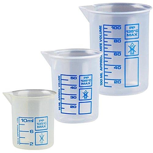 Drei Messbecher a 10 50 und 100 ml natur kleine Dosier-Becher transparent Kosmetex Griffinbecher Set klein