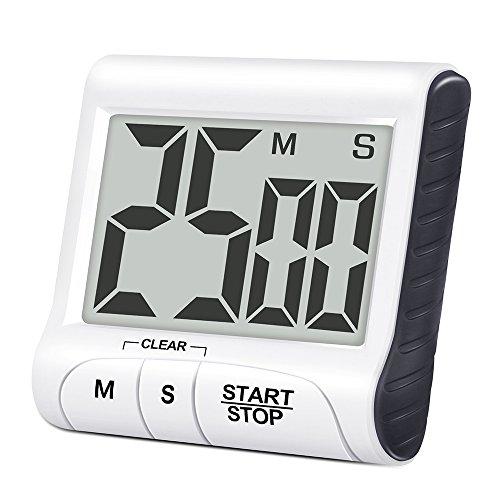 Digitaler Küchentimer Magnetisch Rusee Kurzzeitmesser Küche Zeitschaltuhr 24H Countdown Timer Elektronischer Timer mit Stoppuhr und Schallendem Alarm Großem LCD Display Einklappbarer Hänger Ständer